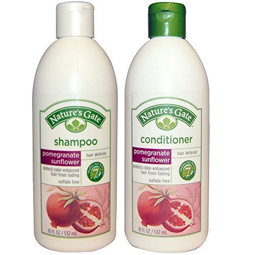 (Nature's Gate All Natural Organic Pomegranate Sunflower Defense Shampoo and Conditioner Bundle with Anti-dandruff Flaky Scalp Treatment, 18 Fl. Oz. Each)