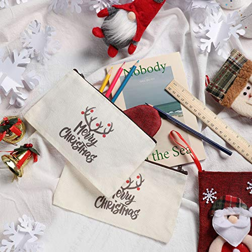 6 Pieces Christmas Canvas Makeup Bags Multipurpose Travel Toiletry Pouch Portable Cosmetic Bag Xmas Pen Case Craft DIY Bag for Women Girls Festive Party