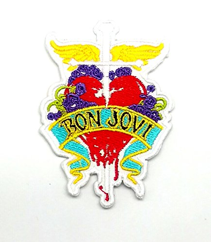 Wasuphand Bon Jovi Heart ‡ Yellow Rock Music Band Patch Embroidered Iron on Hat Jacket Hoodie Backpack Ideal Vest Cap (Patch Jovi Bon)