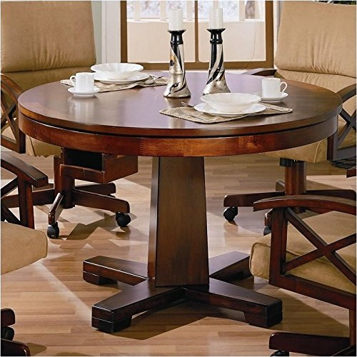 BOWERY HILL 3-in-1 Game Table in Dark Oak - Oak Folding Poker Table