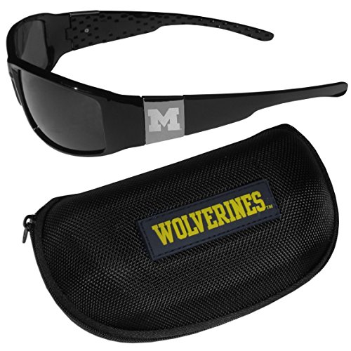 NCAA Michigan Wolverines Chrome Wrap Sunglasses & Zippered Carrying Case