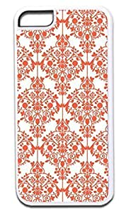03-Floral Damask Pattern- Case for the APPLE IPHONE 5 ONLY!!! NOT COMPATIBLE WITH THE IPHONE 5c!!!-Hard White Plastic Outer Case with Tough Black Rubber Lining