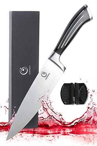 Coolinaria Chef Knife Razor Sharp Full Tang Stainless Steel Kitchen Knife with Sharpener Recipes eBook and Storage Case for knives