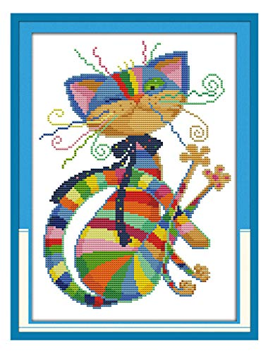 "eGoodn Stamped Cross Stitch Kits Printed Pattern - Colorful Cat 11CT Fabric 12.6"" x 16.5"", Embroidery Art Cross-Stitching Needlework, Frameless by eGoodn"