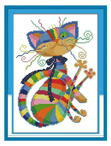 eGoodn Stamped Cross Stitch Kits Printed Pattern - Colorful Cat 11CT Fabric 12.6 x 16.5, Embroidery Art Cross-Stitching Needlework, Frameless