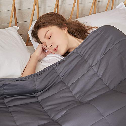 ZonLi Cooling Weighted Blanket 15 lbs(48''x72'', Twin Size, Grey)