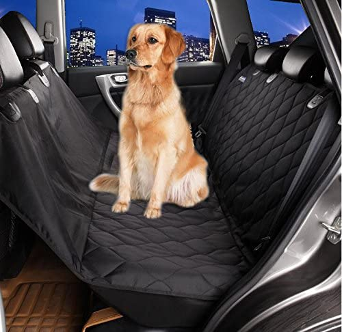 Mimibox Dog Seat Cover Hammock Adjustable Straps Waterproof Black for Cars