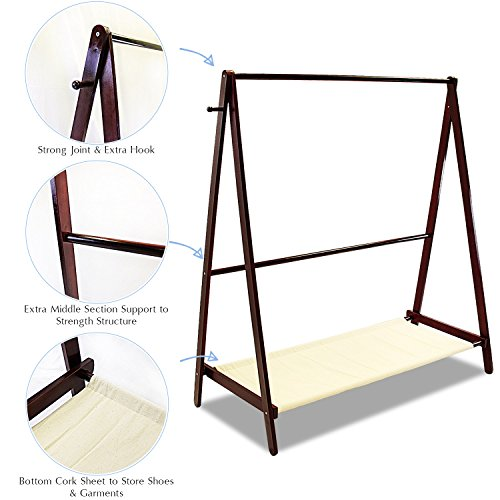 Jerry & Maggie - Garment Rack Cloth Rack Natural Sturdy Wood Coat Rack Clothes Hanging System Laundry Drying With Bottom Shelves | Foldable / Collapsible / Luxury by Jerry & Maggie (Image #5)