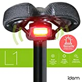 FCC certified, rechargeable 4-in-1 smart bike taillight that turns on and off automatically, deceleration signal when bike slows down abruptly, SOS distress light, and optional theft-deterrent alarm.