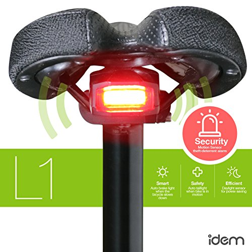 FCC certified, rechargeable 4-in-1 smart bike taillight that turns on and off automatically, deceleration signal when bike slows down abruptly, SOS distress light, and optional theft-deterrent (Sensors Seat)