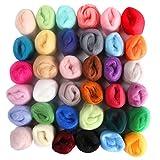 NABLUE 36 Random Color Fiber Wool Roving Yarn With Needle Felting Starter Kit Wooden Handle Set For Needle Felting Hand Spinning DIY Craft Materials - 8 Felting Needles,12 Black Eyeballs