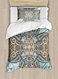 Arabian Duvet Cover Set by Ambesonne, Arabian Style Geometric Pattern Islamic Persian Art Elements and Baroque Touch Art, 2 Piece Bedding Set with Pillow Sham, Twin / Twin XL, Brown Teal
