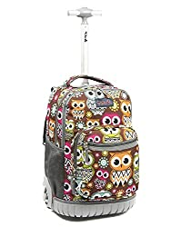 Tilami New Antifouling Design 18 Inch Oversized load multi-compartment Wheeled Rolling Backpack Luggage for Kids (Big Eyes Owl)