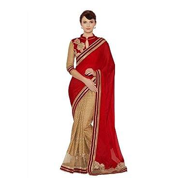 ab461c1a66d064 Amazon.com: Desi Butik Embroidered Fashion Silk Saree (Red, Gold): Clothing