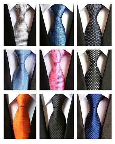 AVANTMEN 9 PCS Classic Men's Neckties Woven Jacquard Neck Ties Set (9 Pack-style -