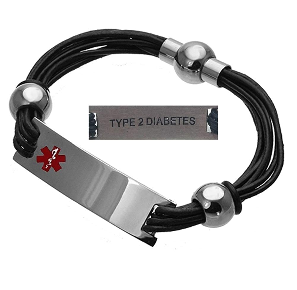 Type 2 Diabetes Medical Alert 316L Stainless Steel and Leather Unisex Bracelet, 8.5 Stahl type2
