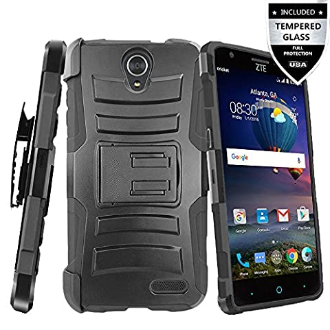 ZTE Prestige 2 Case, ZTE ZFive 2 Case With Tempered Glass Screen Protector,IDEA LINE(TM) Heavy Duty Armor Shock Proof Dual Layer Holster Locking Belt Swivel Clip with Kick Stand - (Zte Phones Protector)