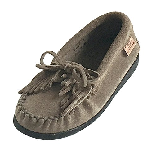 Laurentian Chief Women's Fringed Crepe Sole Grey Suede Moccasin Shoes (8)