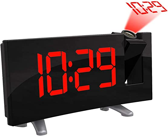 ONEVER Horloge de projecteur à LED numérique, Affichage à LED incurvée (FM 7.1 '') avec Radio réveil Gradateur de Plafond Affichage de Plafond