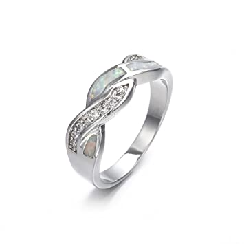 d1d06a102e1 Amazon.com: Ring Sterling Silver,Womens 2-in-1 Zirconia Ring ...