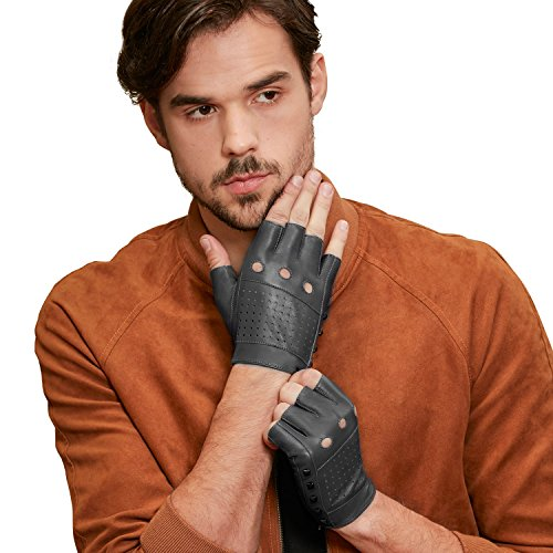 GSG Punk Studs Driving Cycling Leather Gloves Motorcycle Fingerless Gloves Mens Half Finger Hip Hop Gloves Grey 9.5 ()