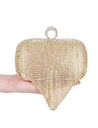 Clocolor Rhinestone Series-Dazzling Ring Evening Bags Full Crystal Wedding Prom Formal Clutches Purses Box Clutch Purse Small Evening Bag