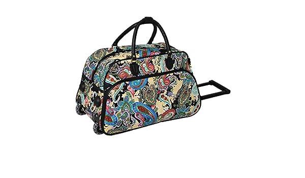 Amazon.com  1 Piece Multi Color Paisley Rolling Carry On Duffle Bag ... c7de820b5dbdf