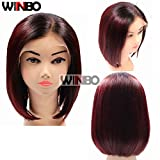 WINBOWIG Ombre Black 99J Wine Red 150 Density Human Hair Full Lace Wig Pre Plucked Hairline Baby Hair Lace Front Wig (14 inch, FULL LACE WIG)