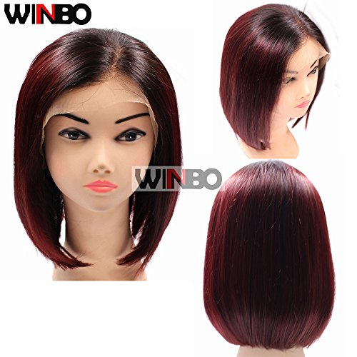 WINBOWIG Ombre Black 99J Wine Red 150 Density Human Hair Full Lace Wig Pre Plucked Hairline Baby Hair Lace Front Wig (14 inch, FULL LACE WIG) by Winbo