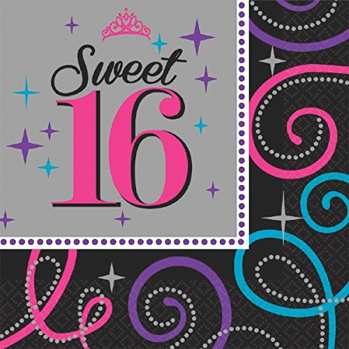 Amscan Elegant Sweet Sixteen Celebration Birthday Party Luncheon Napkins Tableware (16 Pack), Black/Gray, 6 1/2