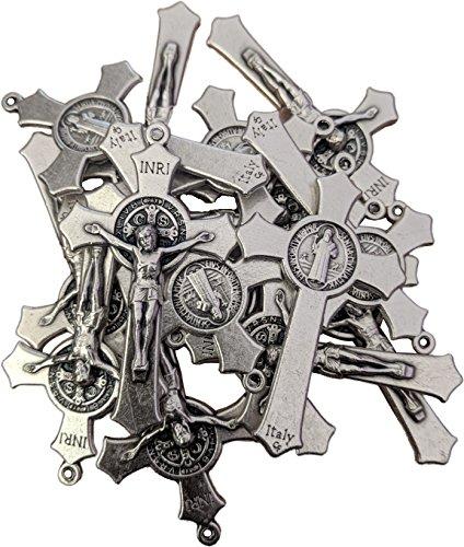 (MedjugorjeOnlineShop LOT SET Of 100 St Saint Benedict Crucifix Cross Silver Tone Rosary Pendant Necklace 2 inc (100))