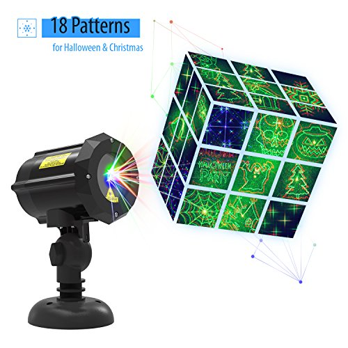 Laser Light,Christmas Laser Lights with 18 Patterns for Halloween,Laser Projector Star Led Shower with RF Remote Controller Outdoor Night Decoration Waterproof Light has Pumpkin, Ghost, Skull Pattern