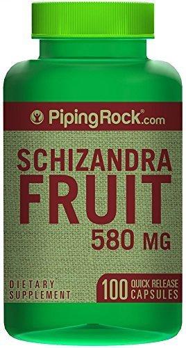 Schizandra (Berry) Fruit 580 mg 100 Capsules by Piping Rock Health - Rocks Fruit