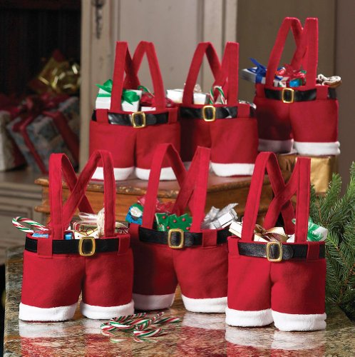 Collections Etc Festive Santa Pants and Suspenders Holiday Goodie Bags - Easy and Unique Gift Wrapping Ideas for Anyone