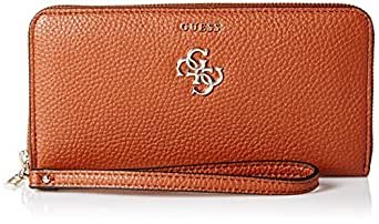GUESS womens Flora Vg Large Zip Around Wallet Brown Size: One Size