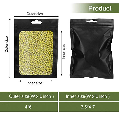 100 Pieces Smell Proof Bags,4 x 6 Inch Resealable Mylar Ziplock Food Storage Bags with Clear Window Coffee Beans Packaging Pouch for Food Self Sealing Storage Supplies (Black)