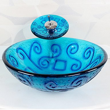bluee Round Tempered Glass Vessel Sink with Waterfall Faucet ,Pop - Up Drain and Mounting Ring