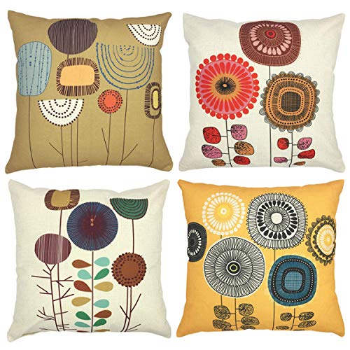 NYKKOLA Soild Linen Abstract Sunflower Throw Pillow Covers Set of 4, Decorative Pillowcase Cushion Cover for Sofa Bedroom Car 18 x 18 Inch 45 x 45 cm (Style 01)