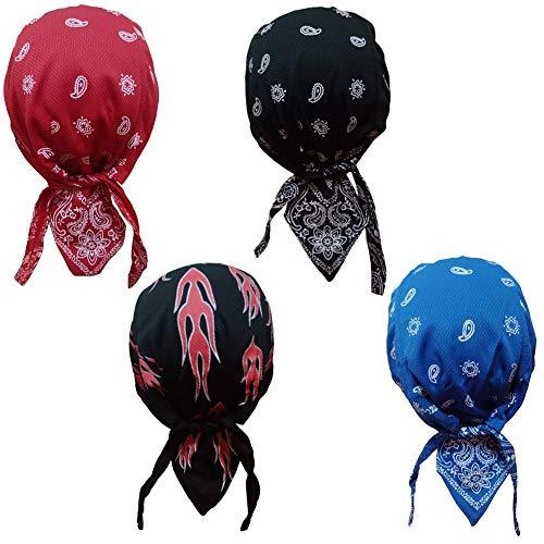 QING Sweat Wicking Beanie Cap Hat Chemo Cap Skull Cap for Men and Women (Paisey 4 Pack)