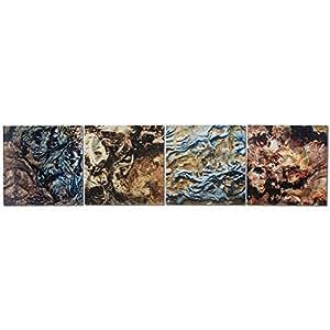 Metal Art Studio 4-Panel 'Mother Earth' Wall Art, Earth Tones