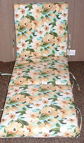 (1) Outdoor Patio Chaise Cushion ~ Disco Yellow & Green ~ 21 x 70 x 3.5NEW SHIPPING INCLUDED