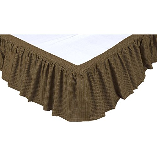 VHC Brands Rustic & Lodge Bedding - Tea Cabin Green Bed Skirt, (Cabin Bed Ruffle Bedskirt)