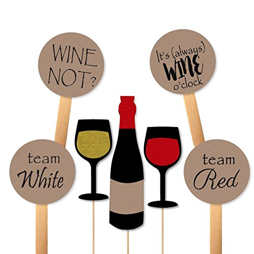 Wine Tasting Decor (Wine Tasting Photobooth Props and Paddles for Themed Party Photos)