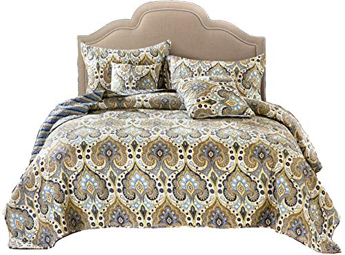 Tache Home Fashion Bohemian Spades Quilted Coverlet Bedspread Set - Bright Vibrant Multi Colorful Olive Green Floral Print Reversible Quilt- Queen - 3-Pieces
