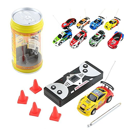 Jesse Multi color Coke Can Mini Speed RC Radio Remote Controller Micro Racing Car Toy Gift ()