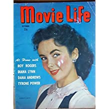 MOVIE LIFE Magazine, OCT 1948, with ELIZABETH TAYLOR on the slightly scuffed cover. Scarce. Inside we have portraits/articles on ROY ROGERS, DANA ANDREWS, TYRONE POWER, BETTY GRABLE, LINDA DARNELL. Full page ad for THREE MUSKETEERS, JOAN OF ARC and RED All magazines shipped in a protective-archival sleeve.