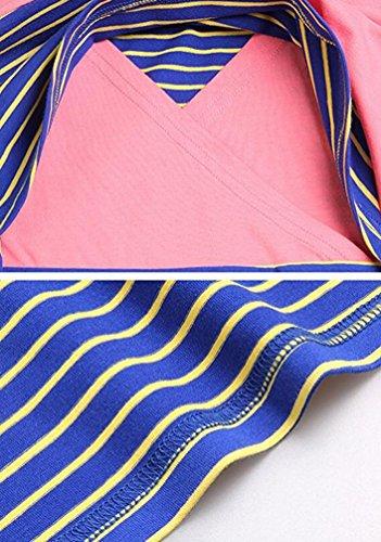 Tops Pink Lunghe Lunga Anguang righe Giuntura A Camicetta Maglietta a Manica Donna Maniche SHOwnvFxqZ