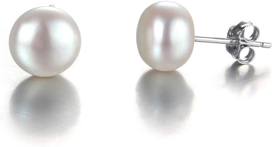 925 Sterling Silver Genuine Cultured Freshwater 5-10mm Pearl Stud Earrings Gift