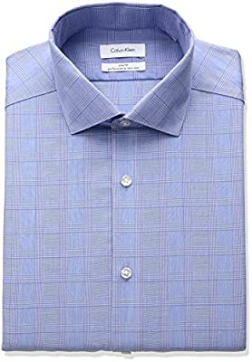 Calvin Klein Men's Non Iron Slim Fit Printed Stripe Point Collar Dress Shirt