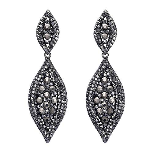 (Flyonce Women's Austrian Crystal Wedding Bridal Charm 2 Leaf Drop Dangle Earrings Carbon Black Black-Tone)